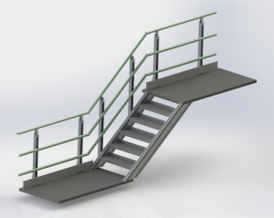 Alphastrut aluminium handrails work perfectly for stairs and corners.